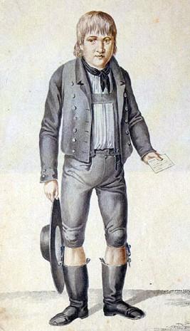 Gaspard Hauser, apparu sur la place de Nuremberg, le 26 mai 1828, âgé d'environ seize ans, dessin de Johann Georg Laminit, vers 1828.