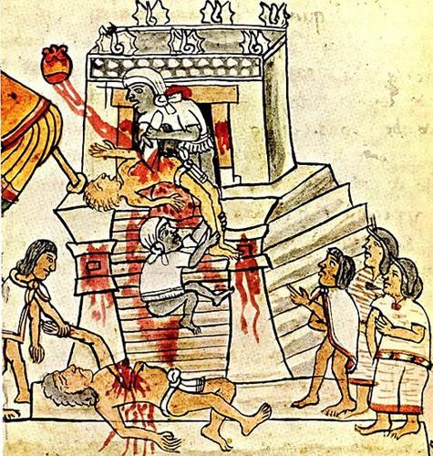 Rituel du sacrifice humain aztèque, XVI e siècle, Codex Magliabechiano, Fondation pour la recherche des études mésoaméricaines, Los Angeles, États-Unis.