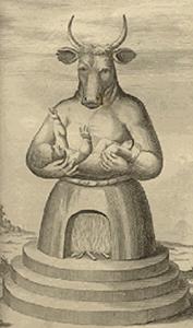 L'idole Moloch, « Les vieux sanctuaires juifs », Johann Lund's, 1711-1738.