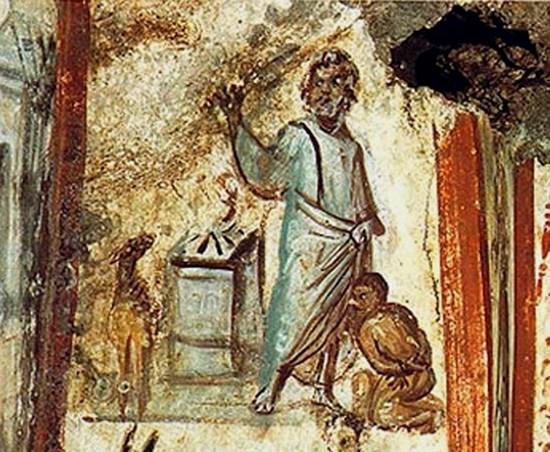 Le sacrifice d'Isaac, fresque paléochrétienne vers 320, Via Latina, Rome.