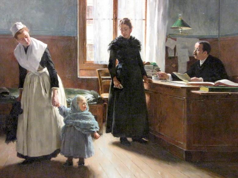 « Aux Enfants-Assistés : L'abandon », Edouart Grellet, 1886, musées de Senlis.