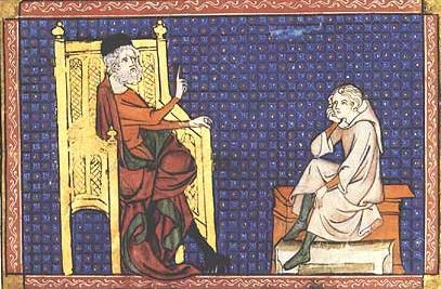 Le dyalogue dou pere et dou filz, France, XIVe siècle, Paris, BnF, département des Manuscrits. Le père apparaît ici comme éducateur et donneur de leçons.