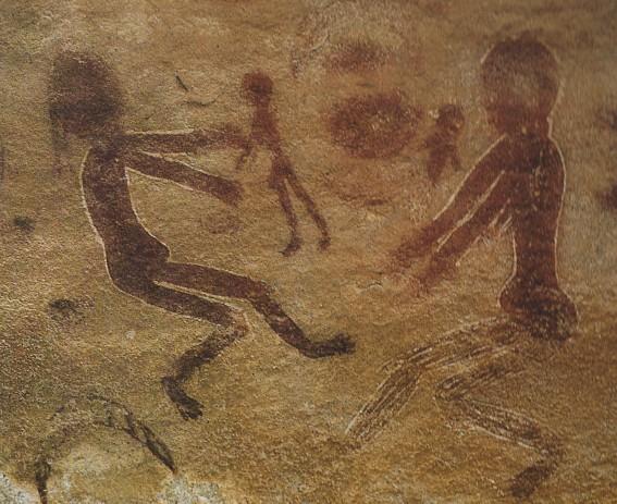 Scène familiale, art néolithique de Sefar, Algérie.