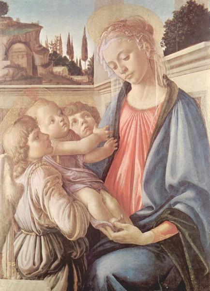 La Vierge et deux anges, Sandro botticelli, vers 1468, musée nationale de Capodimonte, Naples, Italie.