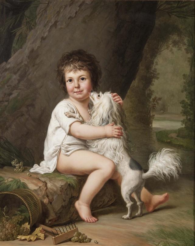 Portrait du jeune Henri Bertholet-Campan avec son chien Aline, Adolf Ulrik Wertmüller, 1786, musée national de Stockolm, Suède.