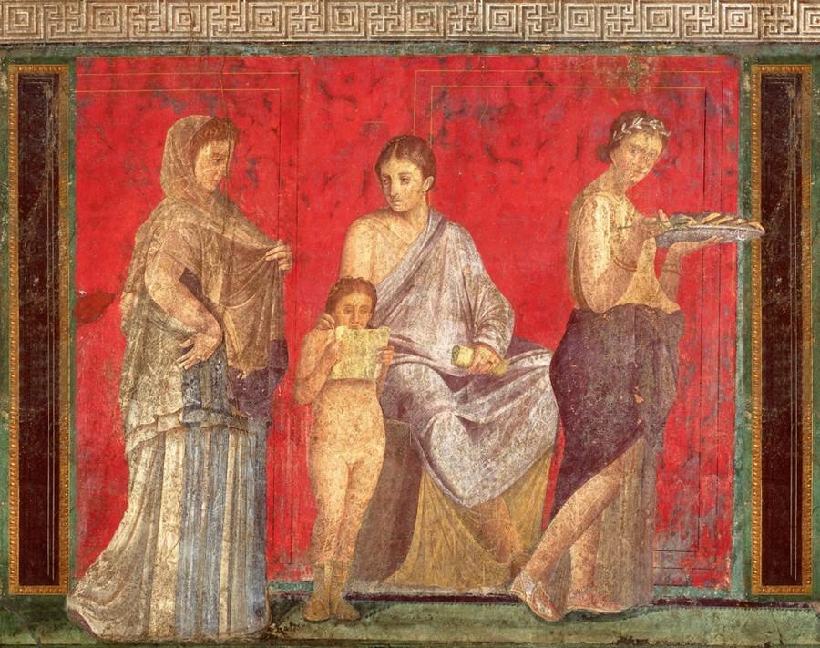 Enfant lisant, détail d'une fresque de la villa des Mystères, vers 60 av. J.-C., Pompéi.