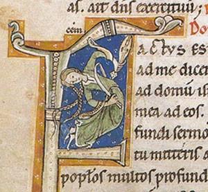 Lettrine, Bréviaire de Montiéramey, XIIe s, BNF, Paris