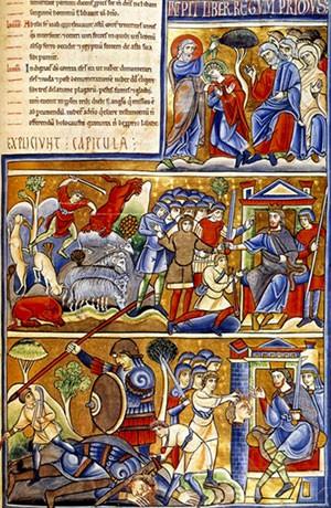 Scènes de la vie de David, Bible de Souvigny, XIIe s., Médiathèque, Moulins