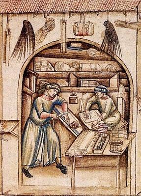 Boutique d'un parcheminier, Floriano da Villola, Cronica, XIVe s., Bibliothèque universitaire de Bologne