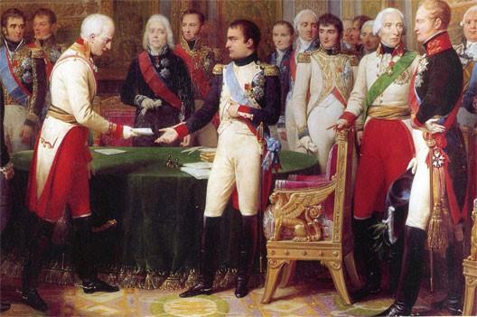Entrevue d'Erfurt : Napoléon reçoit l'ambassadeur d'Autriche sous le regard de Talleyrand, au centre, et d'Alexandre 1er à droite (Nicolas Gosse, château de Versailles)