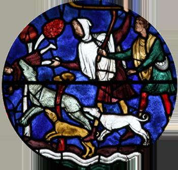 Un loup enlève l'un des deux fils de saint Eustache (vitrail de la cathédrale de Chartres, XIIIe siècle)