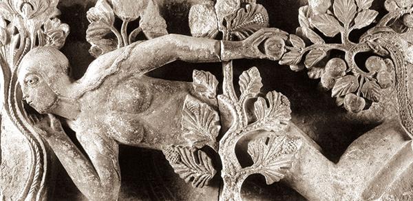 La Tentation d'Ève, bas-relief attribué à Gislebertus, vers 1130, Cathédrale Saint-Lazare d'Autun, Saône-et-Loire.