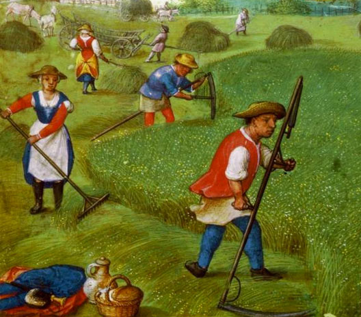 Simon Bening, Hommes et femmes paysans fanant, Livre d'Heures, Munich