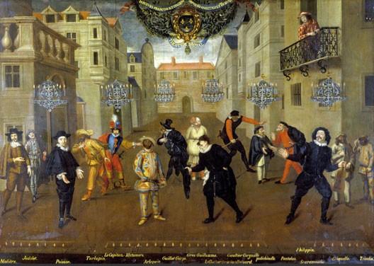 Les farceurs français et italiens depuis 60 ans et plus (Molière est à gauche), peinture attribuée à Verio, huile sur toile, 1670, Comédie-Française