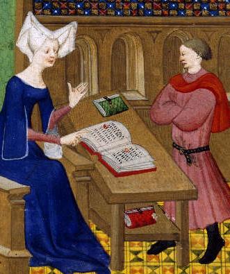 Christine de Pisan instruit son fils Jean de Castel, vers 1413, Maître de la Cité des dames, British Library, Londres.