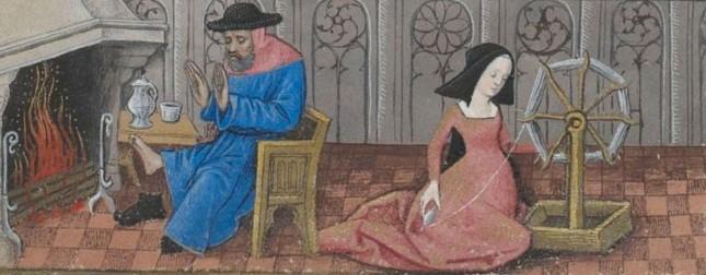 Février, illustration du Livre d'heures de Charles d'Angoulême, 1466, BnF, Paris.