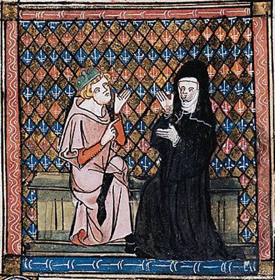 Héloïse et Abélard dans Le Roman de la Rose, Guillaume de Lorris et Jean de Meung, XIIIe siècle, BnF, Paris.
