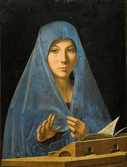 «  La Vierge de l'Annonciation », Antonello de Messine, 1477, palais Abatellis, Palerme.