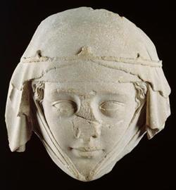 Tête du gisant de Jeanne de Toulouse, 1285 (Paris)