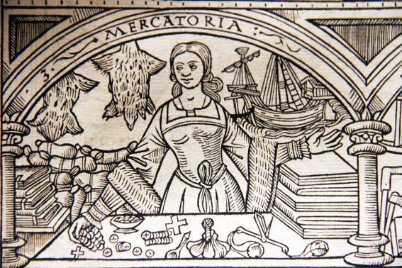 Barthélémy de Chasseneux, Mercatoria dans Catalogue des gloires du monde, 1529, Figeac, Musée Champollion des écritures du monde.