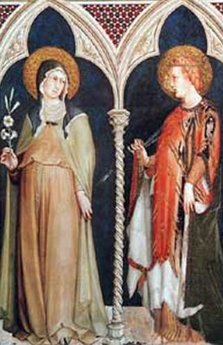 Sainte Claire and Sainte Elisabeth de Hongrie, Simone Martini, 1317, fresque, chapelle Saint Martin, église Saint François, Assise, Italie.