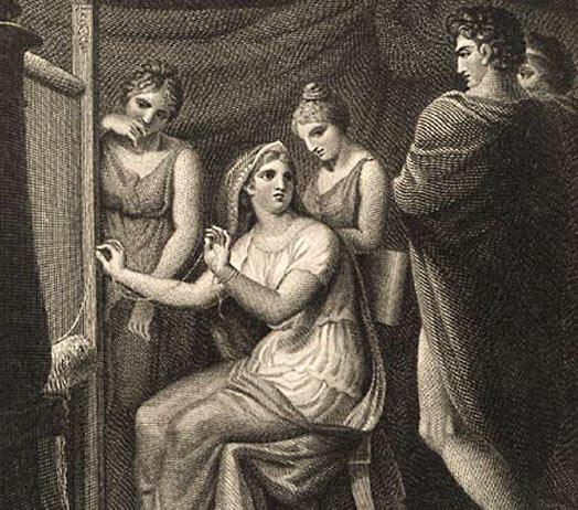 « Pénélope tissant »; l'une des cinquante gravures  illustrant un volume de l'Iliade et l'Odyssée, James Stow, (1770-1820), BnF, Paris.