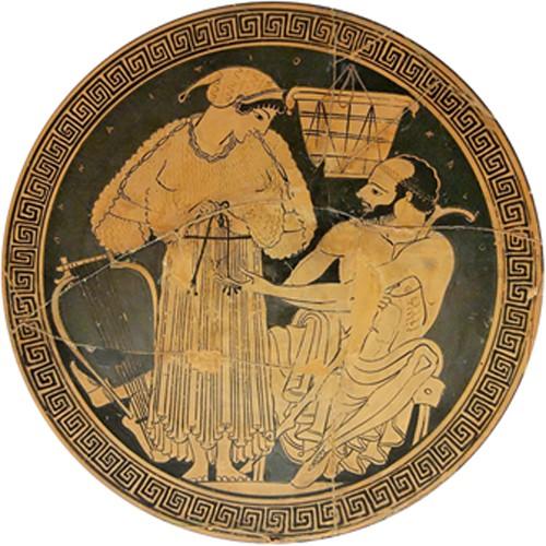 Courtisane remettant son himation (vêtement ample) sous les yeux de son client ;  la lyre suggère une musicienne appelée pour un banquet. Intérieur d'un kylix, vers 490 av. J.-C., British Museum, Londres.
