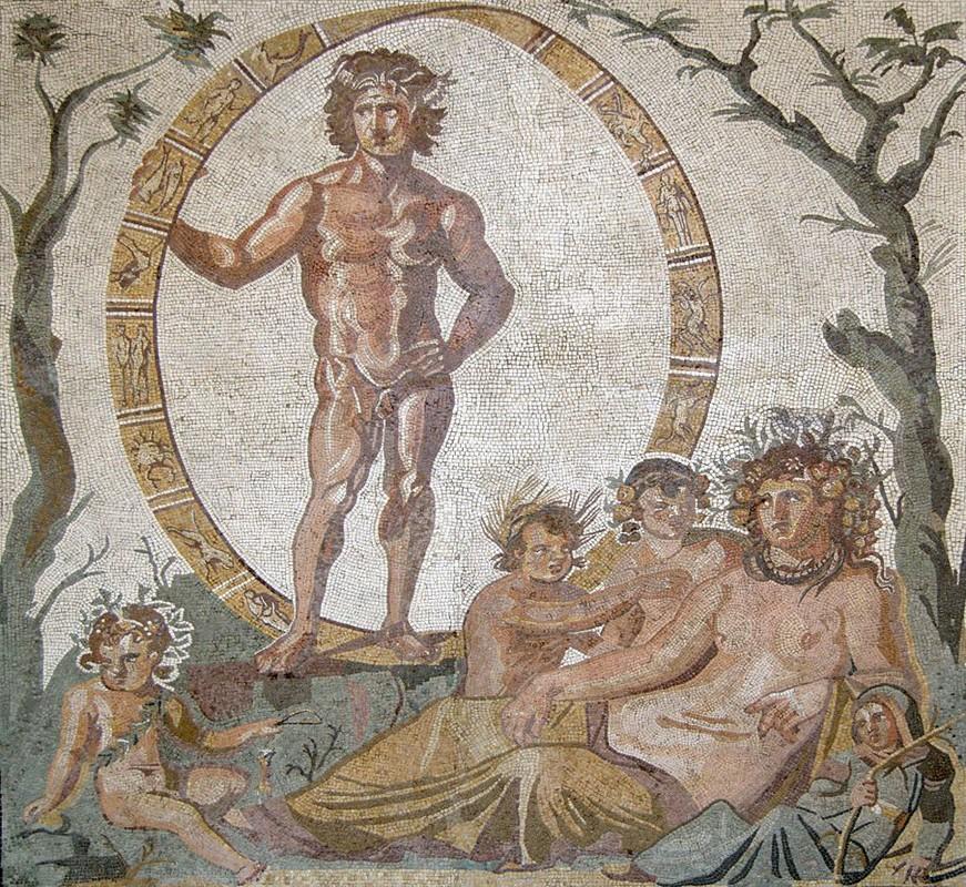 Éon (Aiôn),  dieu de l'éternité, et Tellus (Gaïa), déesse-mère,  entourée de quatre enfants, peut-être  les quatre saisons personnifiées, partie centrale d'une grande mosaïque de sol provenant d'une villa romaine de Sentinum, début IIIe siècle, Glyptothèque de Munich, Allemagne.