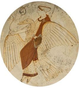 Aphrodite sur son cygne, médaillon d'un kylix (vase utilisé pour déguster du vin), vers 460 av. J.-C., British Museum, Londres.