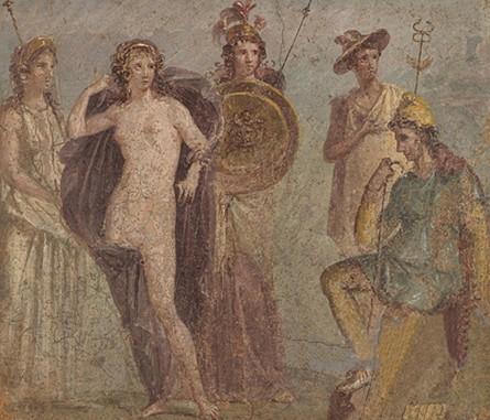 Le « Jugement de Pâris », fresque, détail, musée archéologique de Naples. Représentation des trois déesses : Artémis,  Aphrodite et Héra.