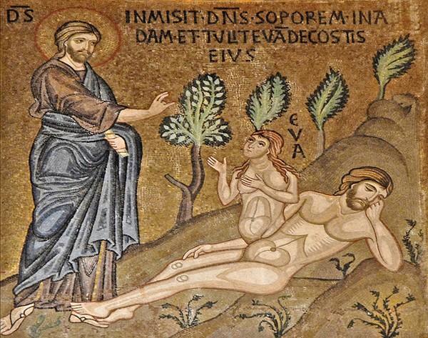 « Création d'Ève », Guiard des Moulins,  Bible historiale, XVe siècle, BnF, Paris.