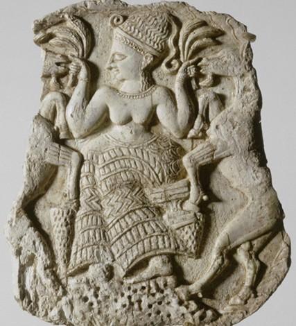 « Déesse nourrissant des caprins », Ougarit, Syrie, 1250 av. J.-C., musée du Louvre, Paris.