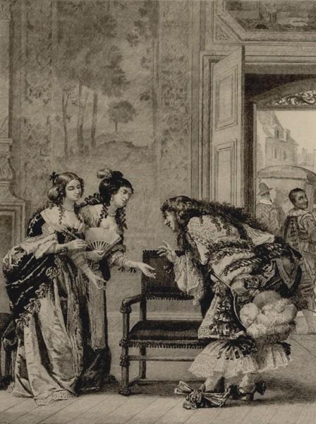 Les Précieuses ridicules (1659), Molière, gravure de Jacques Leman, BnF Gallica, Paris.