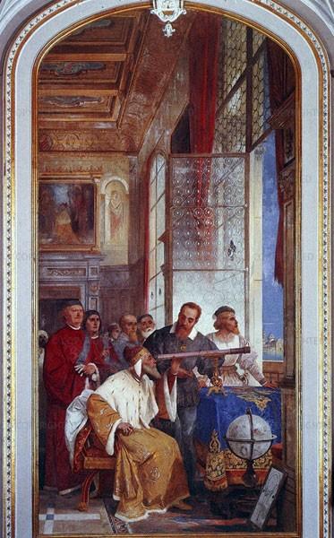 Galilée et le doge sur le campanile de Venise (fresque de Giuseppe Bertini, Villa Andrea Ponti, Varese