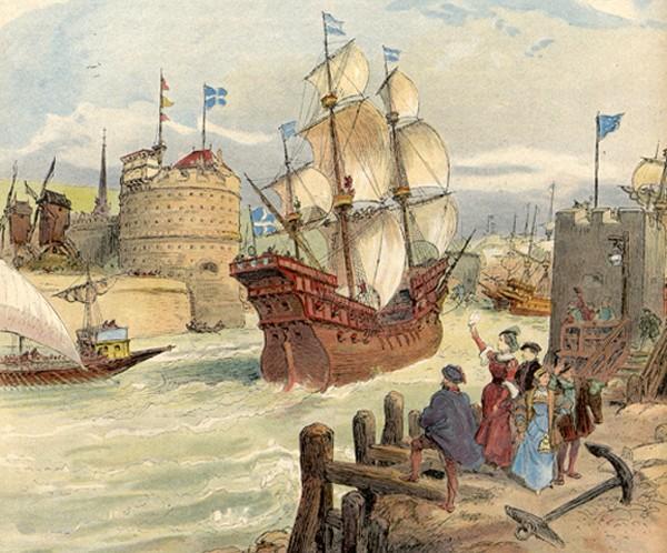 La flotte de François Ier entrant dans le port du Havre par Albert Robida, G. Gustave Toudouze, in François Ier (Le roi chevalier), Paris, Boivin et cie éditeurs, 1909, bibliothèque municipale du Havre.