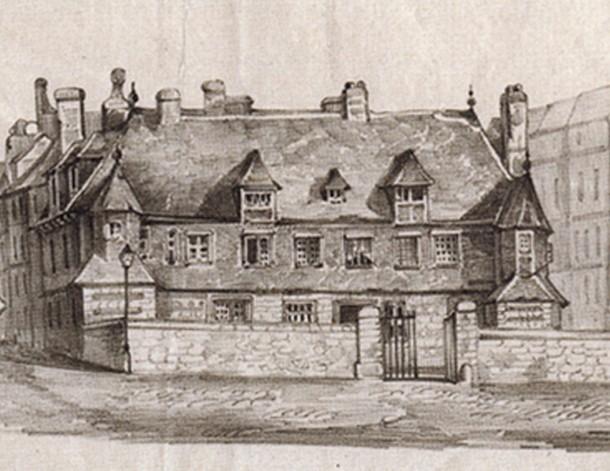 Le Logis du Roy, acheté par l'administration municipale du Havre aux héritiers de Guyon Le Roy en 1550, devient le premier Hôtel de Ville (voir agrandissement), archives municipales du Havre.
