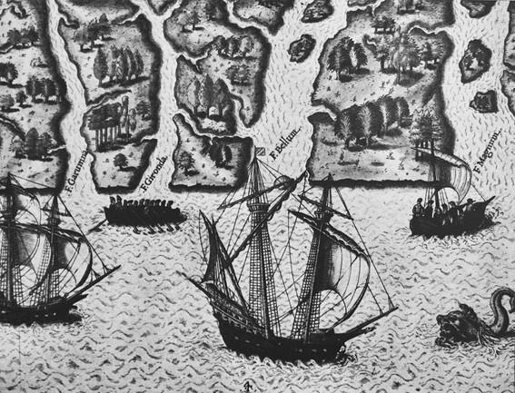 Exploration des côtes de la Floride française par l'expédition de Ribault et Laudonniere, illustration de Jacques Le Moyne de Morgues, XVIe siècle.