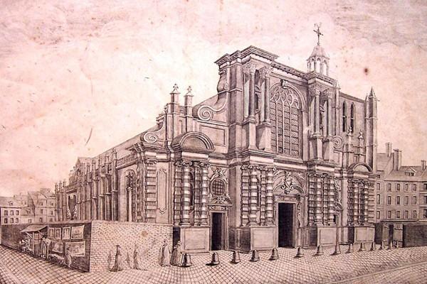 Vue du portail et du côté septentrional de l'église de Notre-Dame du Havre-de-Grâce construite entre 1575 et 1638. Elle sera élévée au rang de cathédrale en 1974, archives municipales. L'agrandissement est une carte postale de l'église au XIXe siècle.