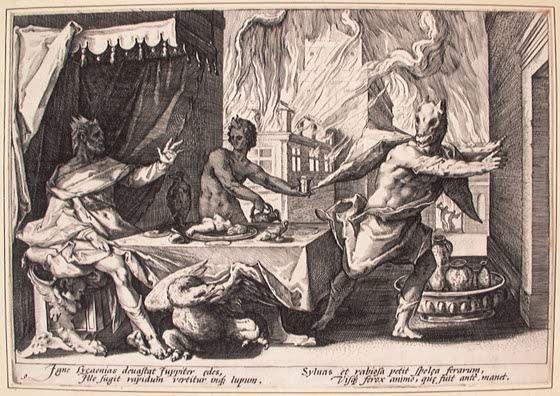 Lycaon est transformé en loup par Zeus (gravure pour les Métamorphoses d'Ovide, par Hendrik Goltzius, XVIe siècle)