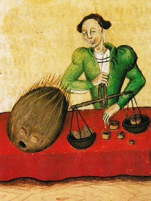 Marchand de noix de muscade, Tratatus de Herbis, 1440, Londres, British Library