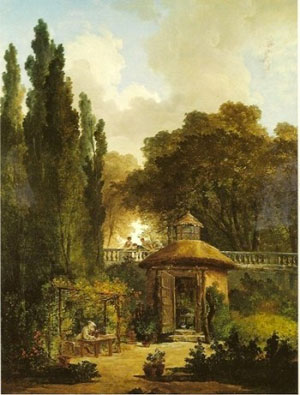 Hubert Robert, Ermite dans un jardin, 1790, Speed Art Museum, Louisville, USA.