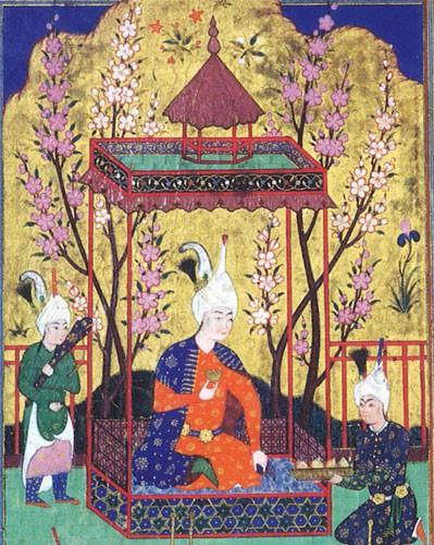 Prince dans un jardin (miniature séfévide, vers 1525, Iran, Metropolitan Museum of Arts, NY)