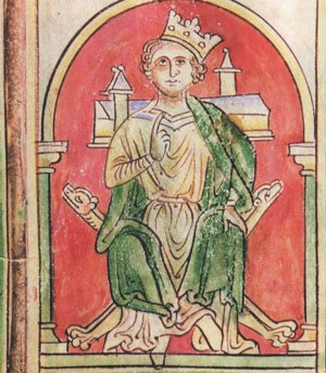 John Lackland (December 24, 1167 - October 19, 1216, Newark Castle), with his crown crooked (British Library, around 1250)
