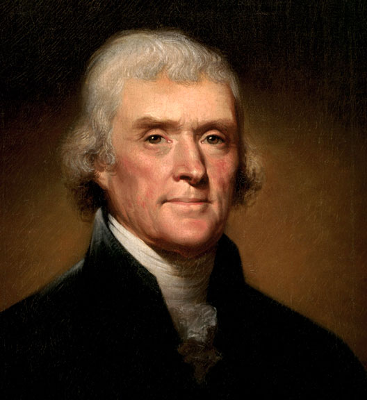 Thomas Jefferson (13 avril 1743, Shadwell, Charlottesville, Virginie -  4 juillet 1826, Monticello, Charlottesville, Virginie), 1800, Rembrandt Peale, White House Historical Ass.
