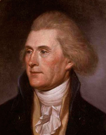 Thomas Jefferson (13 avril 1743,  Shadwell, Virginie, 4 juillet 1826,  Monticello)