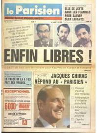 La Une du Parisien après la libération des otages du Liban, le 5 mai 1988