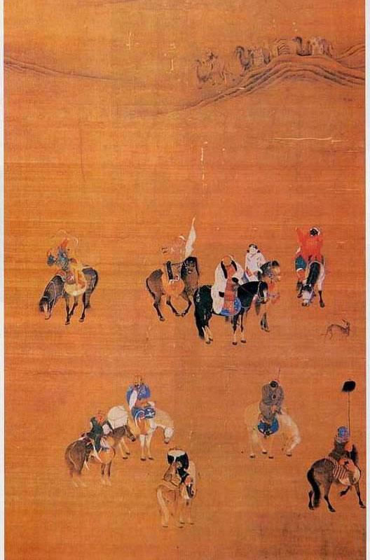 Koubilai Khan à la chasse (manteau blanc, cheval noir), peinture chinoise classique (baidu)