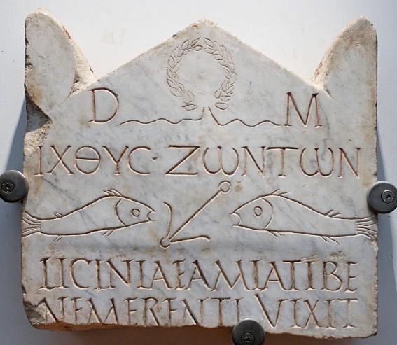 Stèle funéraire de Licinia Amias, inscription en grec et latin, début du IIIe s. ap. J.-C., Rome, Musée romain des thermes de Dioclétien