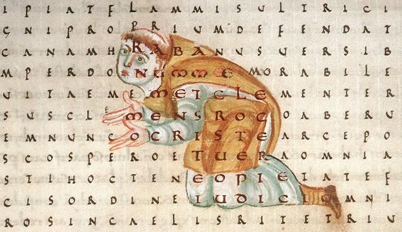 Raban Maur adorant la Croix (détail), abbaye de Fulda (Allemagne), 2e quart du IXe siècle, Paris, Bnf.