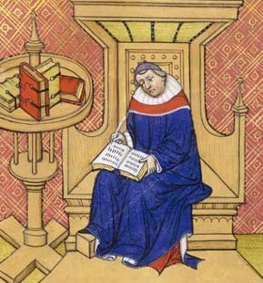 Éginhard écrivant, Grandes Chroniques de France, XIVe s., Paris, Bnf